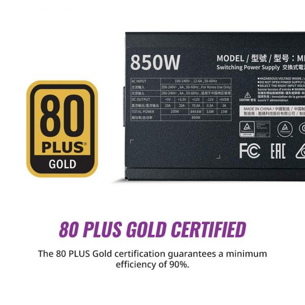 Cooler Master MWE Gold 850 V2 Power Supply – Black (MPE-8501-AFAAG-IN)